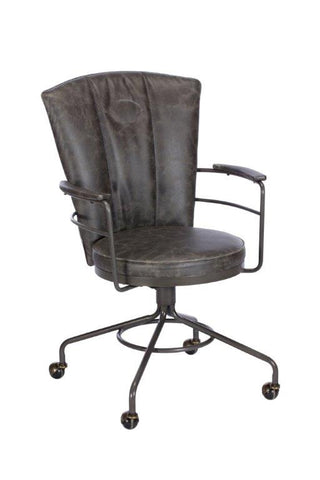 Carter Vintage-Style Office Chair in Chocolate PU Leather