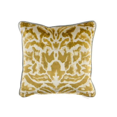 Nikko Damask Pattern Cushion Citrine Lime Green