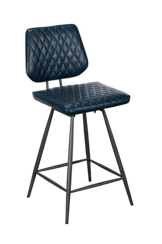 Dalton Blue industrial-style Counter-Height Bar Stool