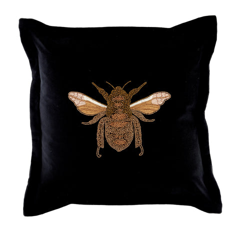LILA BEE BLACK VELVET CUSHION