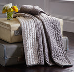 GREY VELVET QUILTED THROW