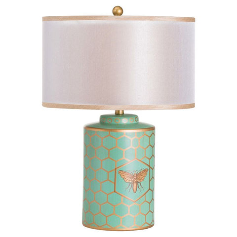 HARLEY BLUE & GOLD BEE TABLE LAMP