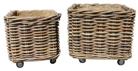 HANDMADE RATTAN LOG BASKET 20% DISCOUNT APPLIED AT CHECKOUT