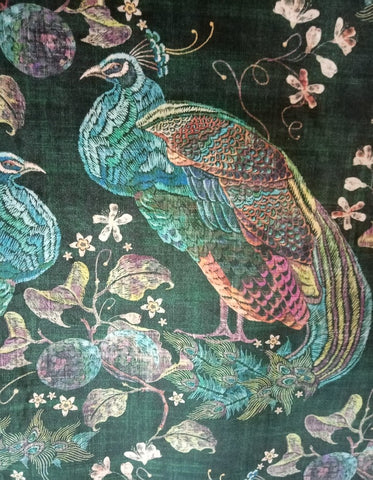 PEACOCK VELVET GREEN - FABRIC STOCK ROLL