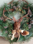 REINDEER & PINECONE WREATH
