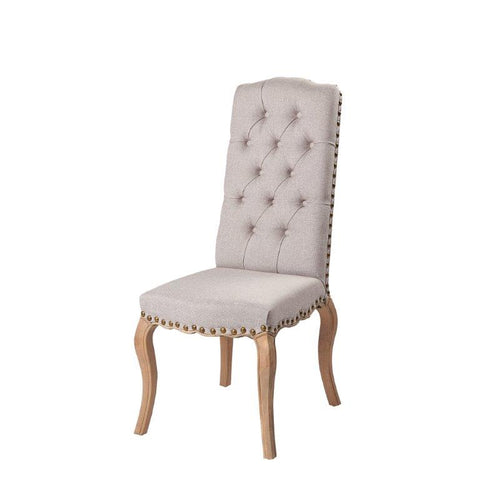 GREY OR NATURAL LINEN BUTTON BACK DINING CHAIR