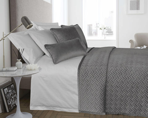 Velvet Padded & Quilted Bedspread in Silver