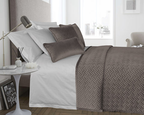 Velvet Padded & Quilted Bedspread in Taupe