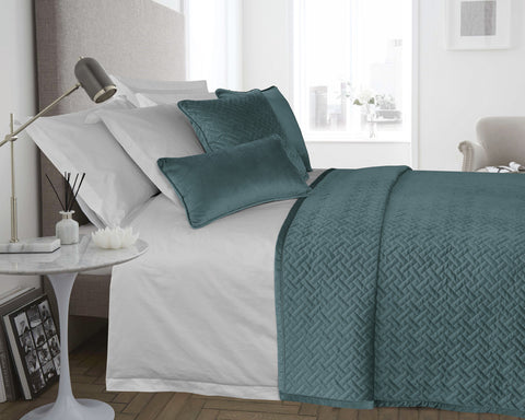 Matching Cushion Cover for Velvet Padded & Quilted Bedspread in Teal