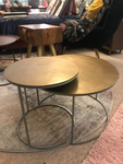 BRASS CIRCULAR COFFEE TABLE SET