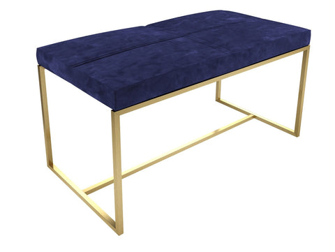 NAVY VELVET AND BRASS LARGE STOOL