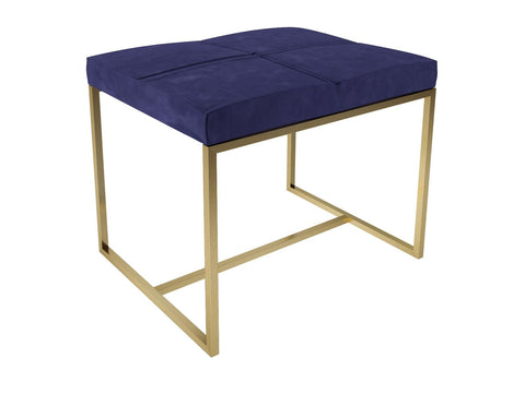 NAVY VELVET AND BRASS SMALL STOOL