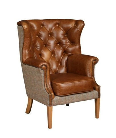 Cerato Leather & Harris Tweed Armchair