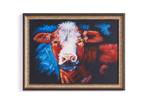 CONTEMPORARY COW OIL PAINTING