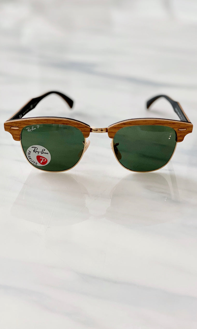 Clubmaster Polarized Sunglasses | Wood