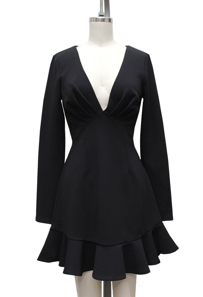 Naya V-Neck Flare Dress | Black
