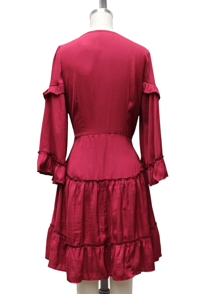 Sangria Ruffle Front Dress