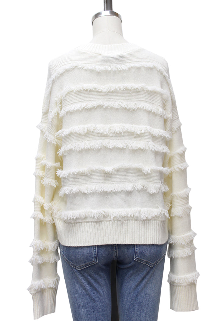 Shaggy Lines Crop Sweater | Ivory