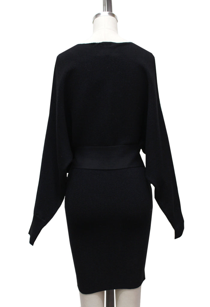 Nora Cold Shoulder Sweater Dress | Black
