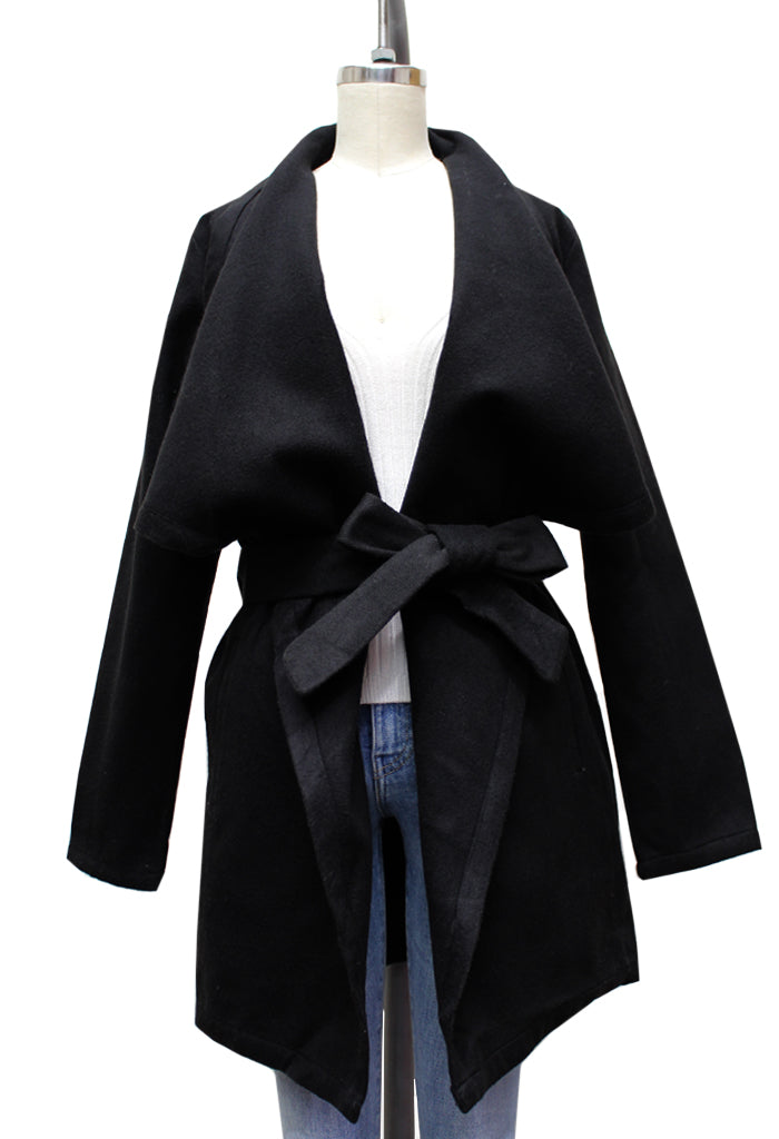 Winona Woolly Belted Open Jacket | Black