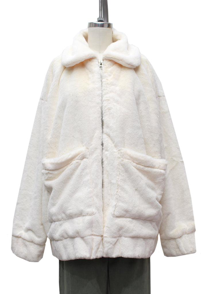 Polar Bear Fuzzy Zip Up Jacket