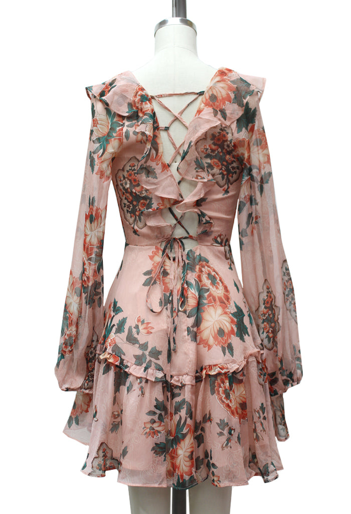 Sophie Floral Lace Up Dress