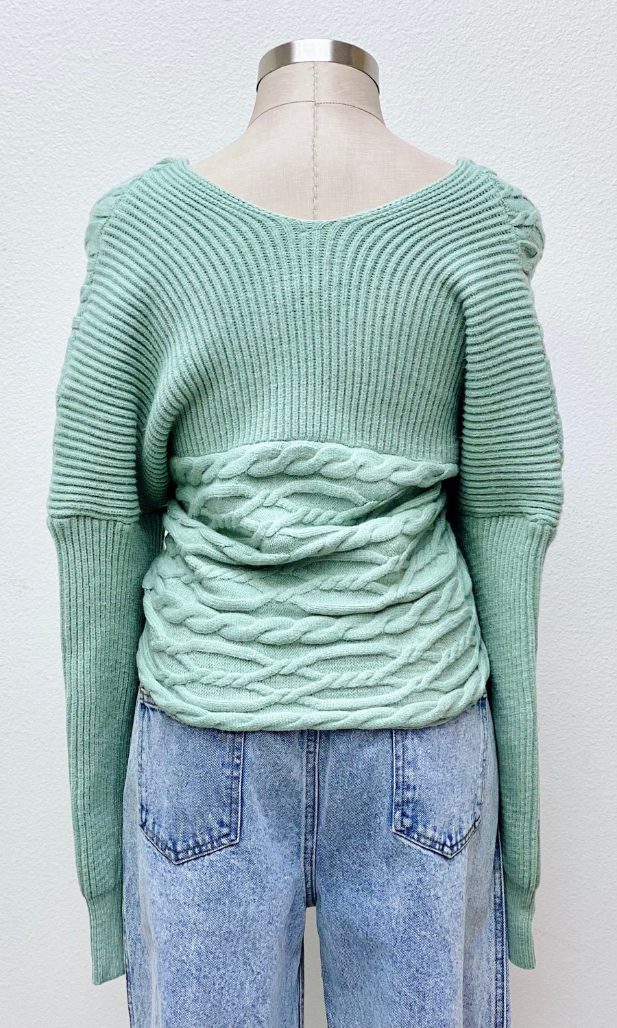 Zina Cable Knit Cross Front Sweater