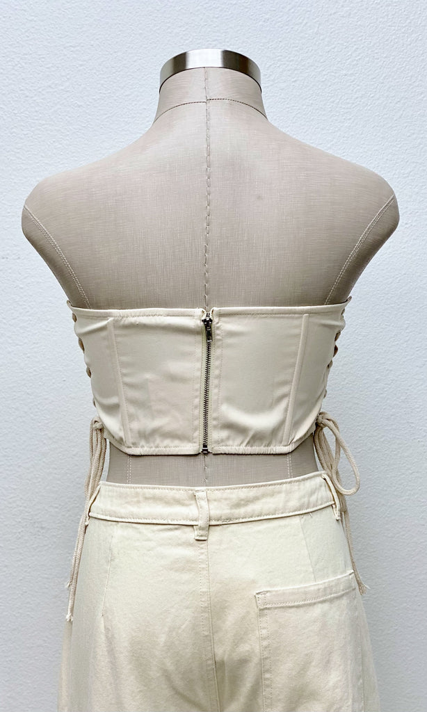 Aika Padded Shoulder Muscle Knit Top | Taupe