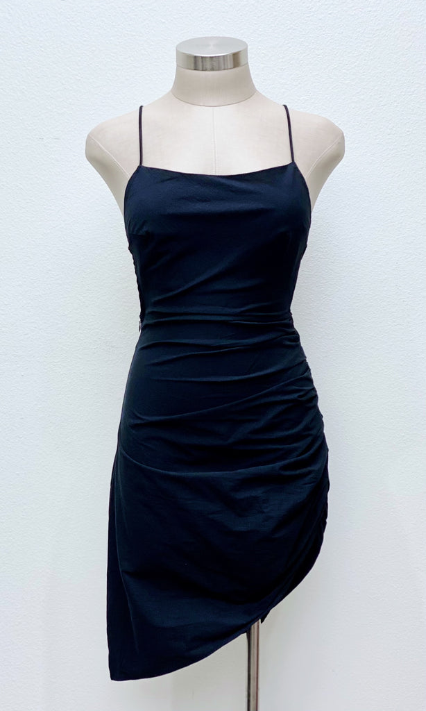 Kuro Open Back Ruched Dress | Black
