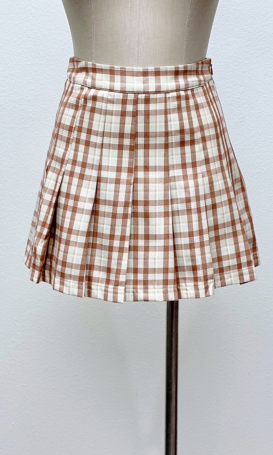 Old School Plaid Mini Skort | Tan