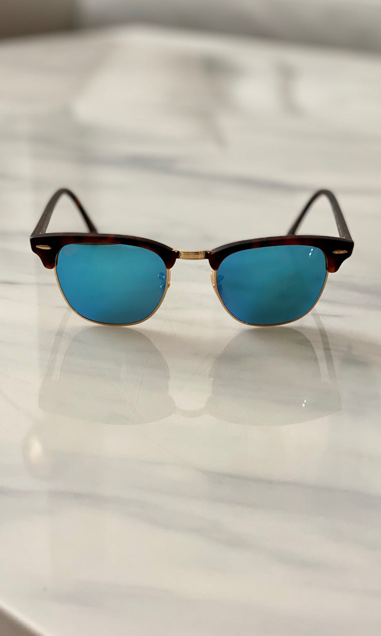 Clubmaster Mirror Chromance Sunglasses | Blue Havana