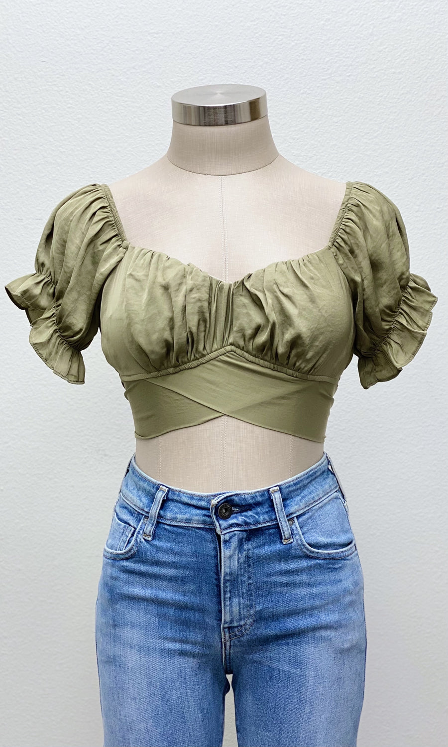 Santorini Tie Back Top | Olive