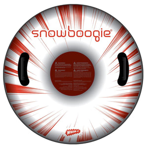 Snowboogie Air Tube 37 inch Red and White Graphics. Two Handles for a single rider.