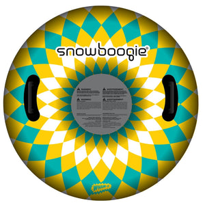 Snowboogie Air Tube 37 inch Blue and Yellow Graphics. Two Handles for a single rider.
