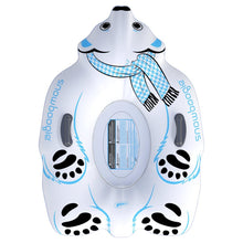 Load image into Gallery viewer, Snowboogie Animal Snow Tube 44 inches  Polar Bear Inflatable Sled with 2 handles  Front View
