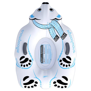 Snowboogie Animal Snow Tube 44 inches  Polar Bear Inflatable Sled with 2 handles  Front View