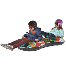 Load image into Gallery viewer, Snowboogie Air Tube 65 inch Colorful Graphics, 4 Handles for two riders Front View Lifestyle