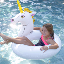 Load image into Gallery viewer, Splash Unicorn Pool Float Side View Lifestyle