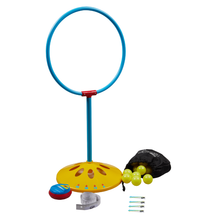 Load image into Gallery viewer, Hut Hut Hoop - Stay 'N Play Hoop and Yellow Balls Front View
