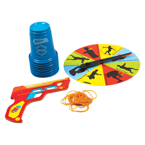 Sharp Shooter - Stay 'N Play Game Set Blue Cups, Rubber band Cardboard Gun, and Spinning Wheel. Front View