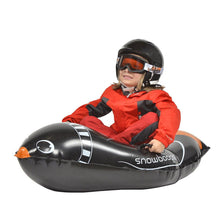 Load image into Gallery viewer, Snowboogie Animal Snow Tube 44 inches  Animal Inflatable Sled with 2 handles  Front View Lifestyle