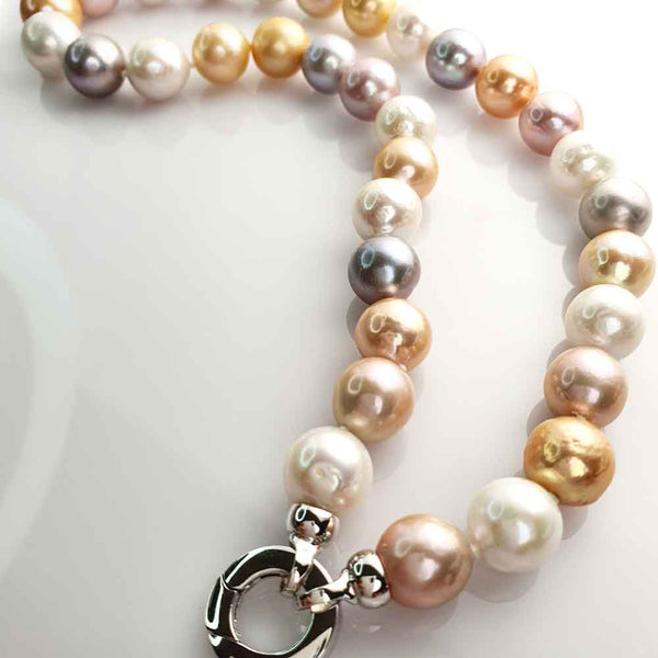 Natural Multi Coloured Edison Pearl Strand Sterling Silver