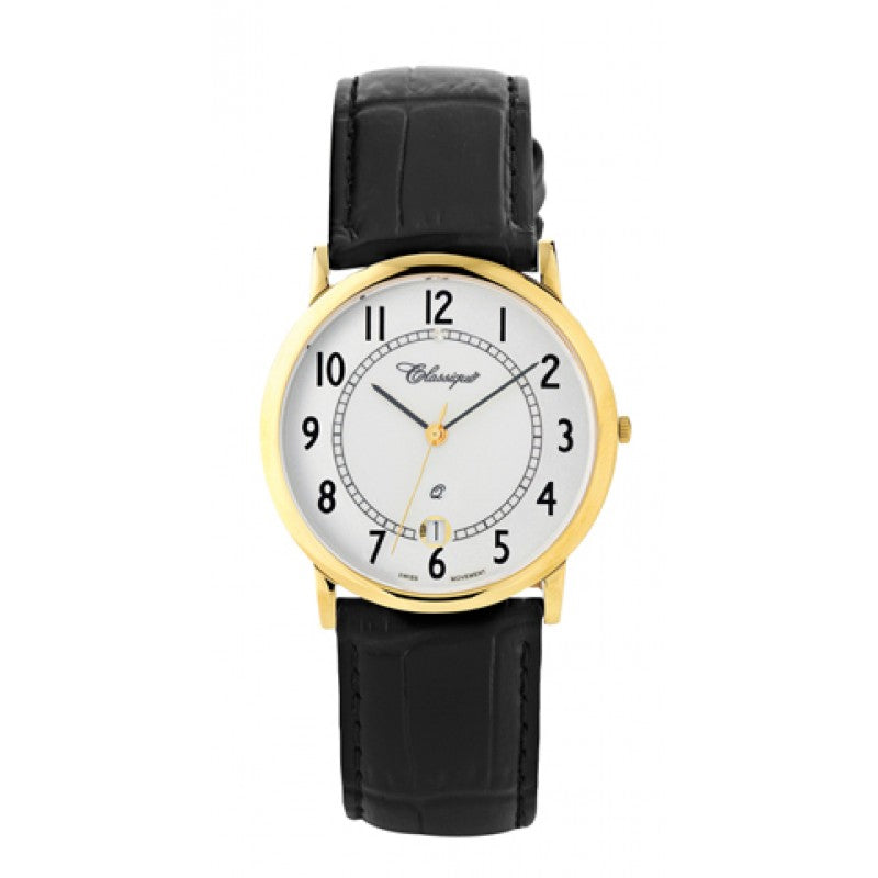 Classique Gents Black Leather Swiss Quartz Watch