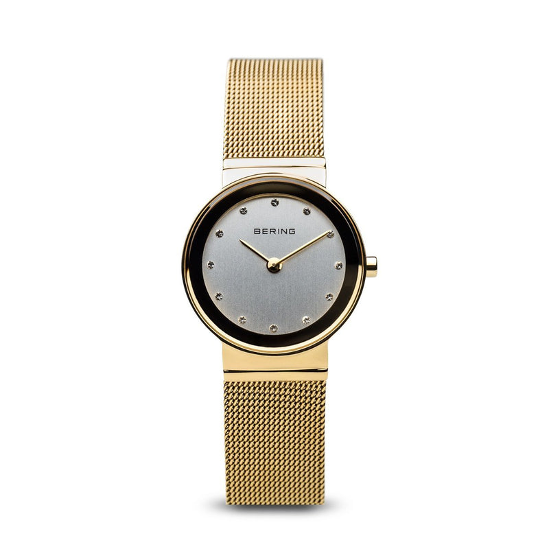 Bering Classic Polished Gold Mesh Swarovski Watch