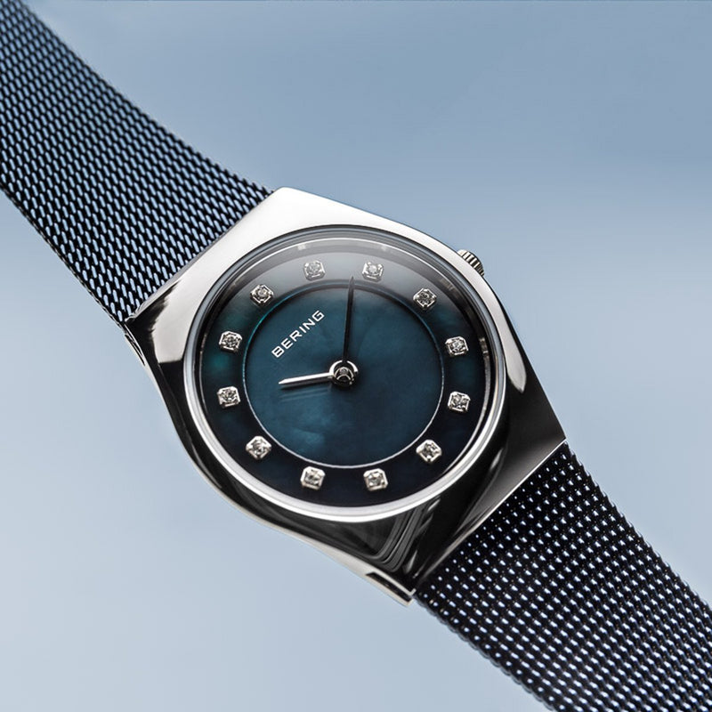 Bering Classic Polished Silver Navy Blue Mesh Watch