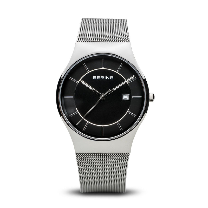 Bering Classic Polished Silver Mesh Watch