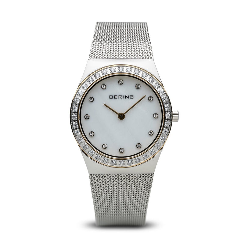 Bering Classic Polished Silver Swarovski Watch