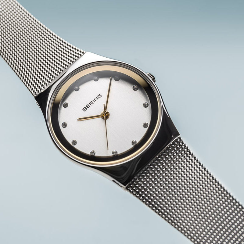 Bering Classic Polished Silver 27mm Mesh Watch
