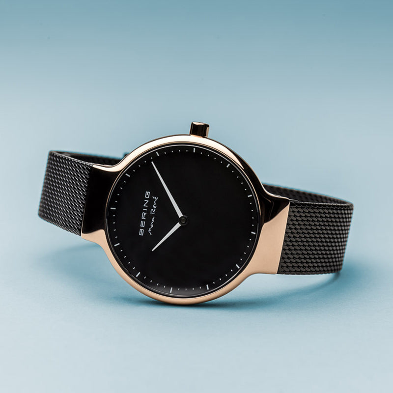 Bering Max René Polished Rose Gold and Black Watch 31mm