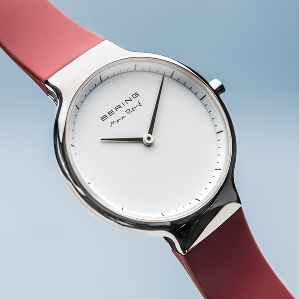Bering Max René Polished Silver and Red Watch 31mm